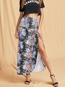 Florals Shirred Tulip Hem Skirt