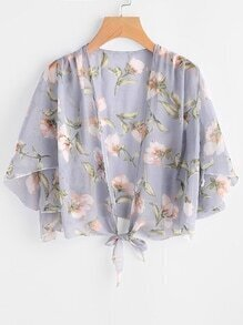Floral Print Random Open Front Knotted Top