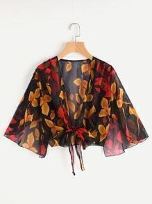 Leaf Print Open Front Self Tie Top