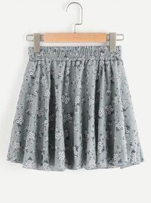Ditsy Print Random Shirred Waist Skirt