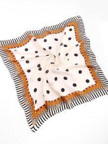 Polka Dot Print Striped Trim Bandana