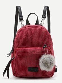 Rucksack mit Kord und Pompon-Dekoration