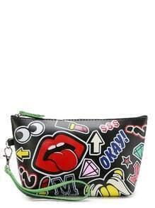 Cartoon Print Makeup Bag With Zipper