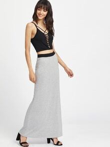 Contrast Elastic Waistband Heathered Maxi Skirt