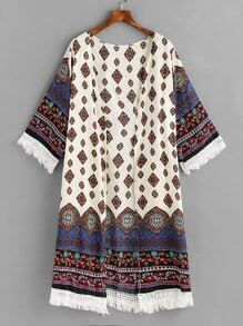 Tribal Print Contrast Crochet Fringe Trim Cover Up