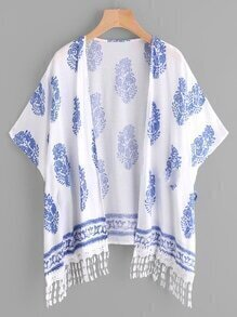 Printed Random Lace Hem Kimono