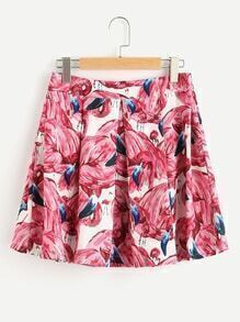 Flamingo Print Random Box Pleated Zip Back Skirt