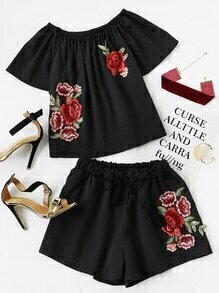 Rose Embroidered Applique Top With Drawstring Waist Shorts