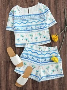 Coconut Trees Print Keyhole Back Top With Shorts