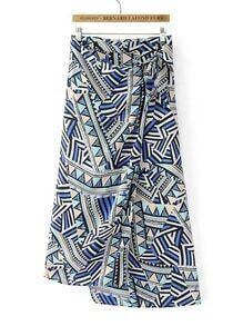 Geometric Print Asymmetrical Skirt