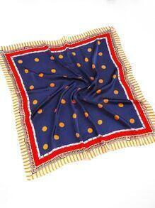 Polka Dot Print &Striped Trim Bandana