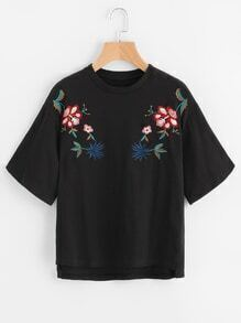 Embroidered High Low Tee