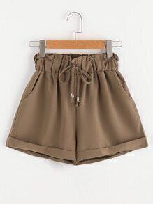 Shorts mit Falten,Gummiband Taille und Rollehosen