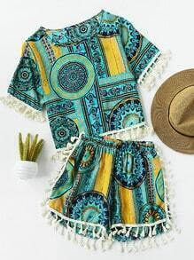 Aztec Print Random Tassel Trim Top And Shorts Set