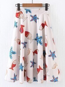 Starfish Print Zipper Back Pleated Skirt