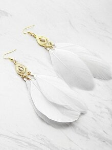 Feather Embellished Drop Earrings