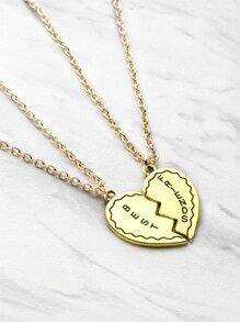 Freundschaft Halskette 2pcs mit Herzdesign