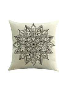 Geometric Lotus Flower Print Pillowcase Cover