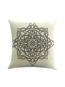 Geometric Flower Print Pillowcase Cover