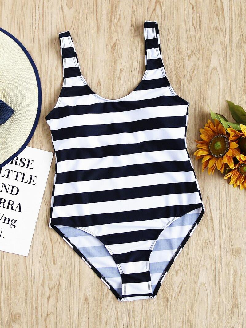7c31fb2141a Two Tone Striped Print Scoop Neck Swimsuit | ROMWE