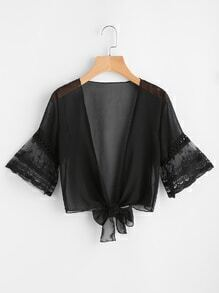 Lace Flute Sleeve Knot Open Front Chiffon Top