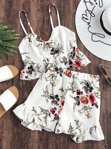 Floral Print Random Frill Hem Self-Tie Crop Top With Shorts