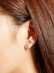 Rhinestone Detail Heart Ear Cuff 1pcs
