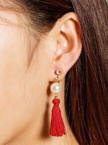 Faux Pearl And Tassel Decorated Drop Earrings