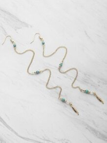 Leaf Detail Chain Drop Earrings With Gemstone