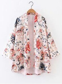 Bell Sleeve Open Front Floral Kimono