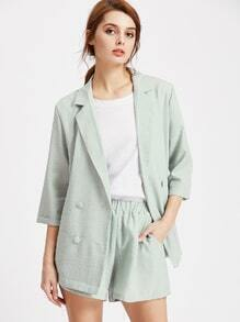 Double Breasted Blazer With Elastic Waist Shorts