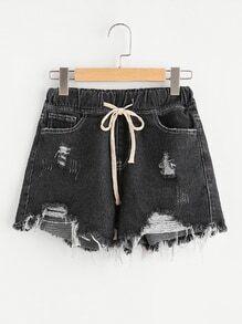 Raw Hem Drawstring Waist Denim Shorts