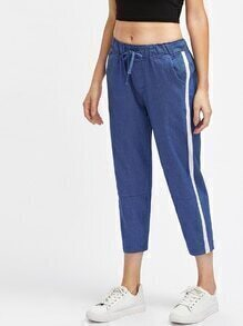 Contrast Binding Side Cigarette Pants