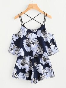 Tropical Print Layered Strappy Playsuit
