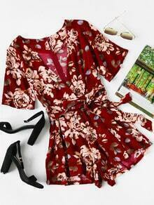 Plunge Surplice Front Self Tie Florals Playsuit