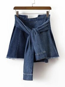 Knot Front Denim A Line Skirt