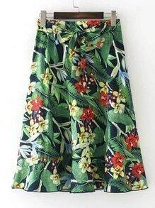 Tie Waist A Line Skirt