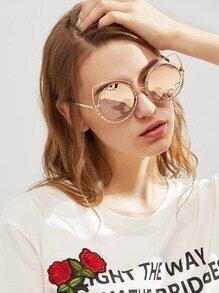 Rhinestone Detail Round Mirror Lens Sunglasses