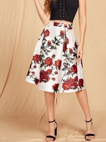 Rose Print Zip Back Box Pleated Volume Skirt