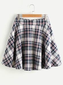 Zip Back Plaid Circle Skirt
