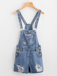 Distressed Fray Hem Fishnet Insert Back Dungaree Shorts