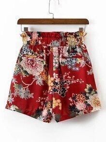 Elastic Waist Flower Print Shorts