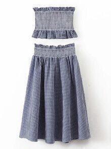 Grid Crop Top With Elastic Waist Skirt