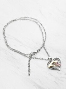 Big Hand Hold Little Hand Design Heart Necklace