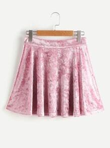 Zip Back Crushed Velvet Circle Skirt