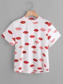 Shirt mit rotem Lippendruck