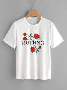T-Shirt mit Kurzärmeln und Rosemuster