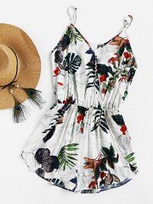 Tropical Print Surplice Wrap Cami Blouson Romper