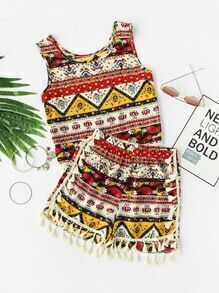 Tribal Print Tassel Trim Tank Top With Shorts