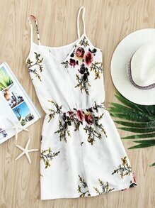 Floral Print Random Single Breasted Cami Romper